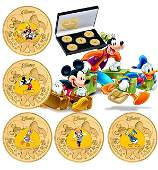 Disney Mickey Mouse & Friends Clad Gold Coin Set w/COA