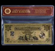 1899 Lab Tested 24k Gold $2 Silver Certificate Banknote