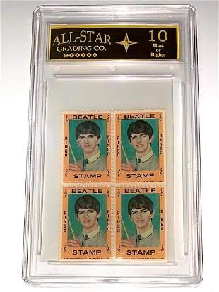 Rare 1964 The BEATLES Un-Cut Block U.S. Postage Stamps