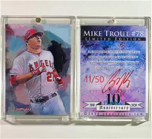 1/50 MIKE TROUT Artist Signed Print Art Baseball Card