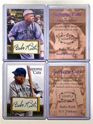 Lot of 2 Babe Ruth Pre-Production Sample Baseball Cards