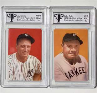 Babe Ruth / Lou Gehrig 1973 Smithsonian Baseball Cards