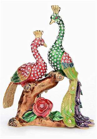Beautiful Enameled-Studded Perched Peacocks Trinket Box