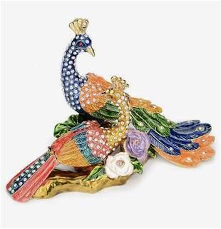 Beautiful Enamel Studded Lovebird Peacocks Trinket Box