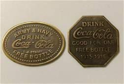 WW1 1915-1916 Army/Navy COCA-COLA Redemption Tokens