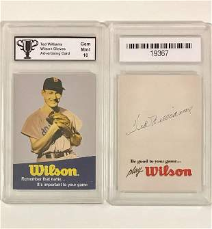 TED WILLIAMS Wilson Gloves Advertising Baseball Card