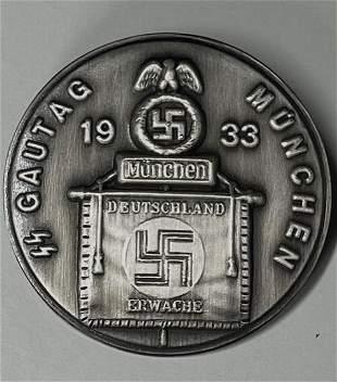 WW2 Nazi German SS Gautag Munchen Tinnie Badge Pin