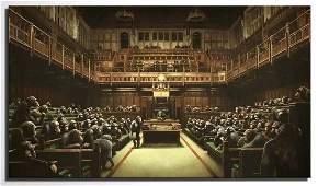 BANKSY Chimpanzees British Parliament Canvas Art Print