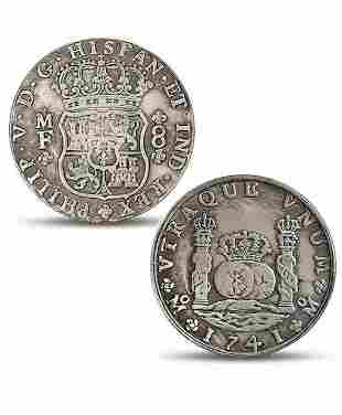 Dated 1741 Spanish Philip 8 Reales Silver tone Coin