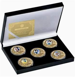 Walt Disney SNOW WHITE  Clad Gold Coins w/COA