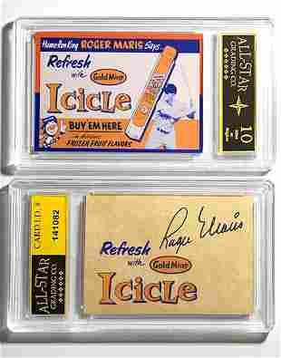 ROGER MARIS Gem 10 Advertising Baseball Card