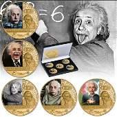 Albert Einstein Commemorative Clad Gold Coin Set w/COA
