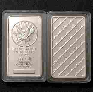 One Troy Ounce SUNSHINE MINTING .999 Fine Silver Bar