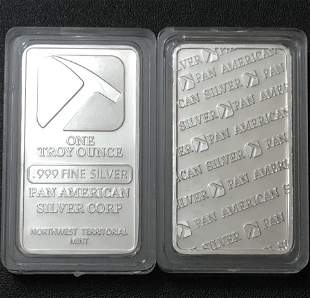 One Troy Ounce PAN AMERICAN SILVER .999 Fine Silver Bar
