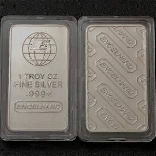 One Troy Ounce ENGELHARD .999 Fine Silver Bar