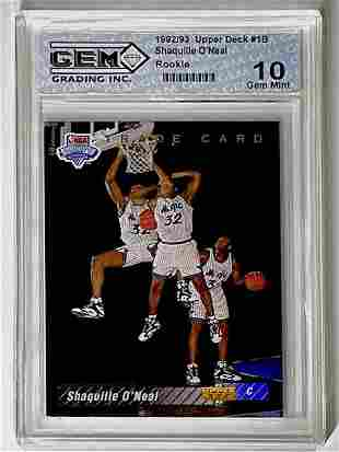 Gem 10 1992 SHAQUILLE ONEAL 1 st Rookie Basketball