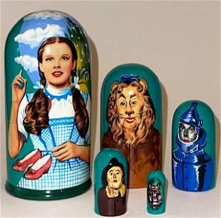 5 Piece WIZARD of OZ Russian Matryoshka Nesting Dolls