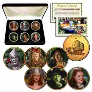 Set of 6 Wizard of Oz 24K Gold Clad Coins w/Box and COA