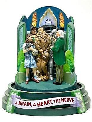 Rare WIZARD of OZ Themed Figural Music Box w/Glass Dome