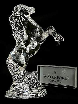 Lrge WATERFORD Crystal Bucking Stallion Horse Sculpture