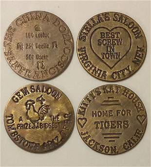 Lot of 4 Old West Saloon Whorehouse Brothel Tokens
