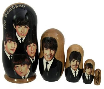 The BEATLES Russian Made Hand Painted Nesting Dolls