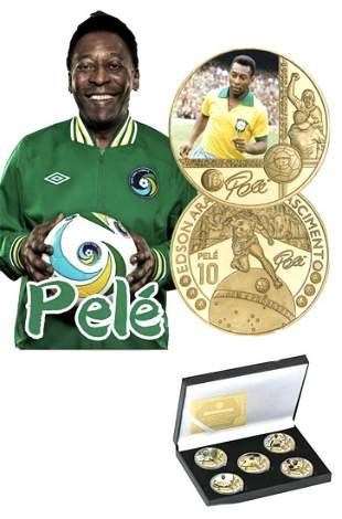 Brazil Soccer Legend PELE Clad Gold Coin Set w/COA