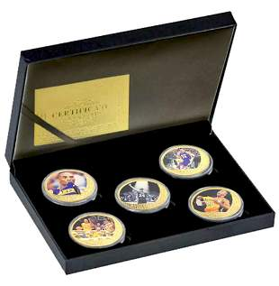 KOBE BRYANT Gold Clad Coin Collection with Box & COA