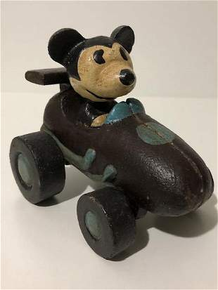 Disney Cast Iron Pull Toy MICKEY MOUSE Driving Car