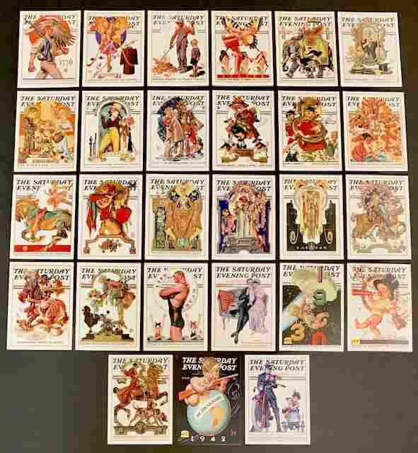 27 Rare Saturday Evening Post Magazine Cover Cards/A