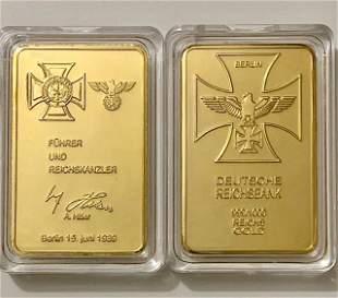 1oz WW2 German Leader Signature Gold Clad Bar