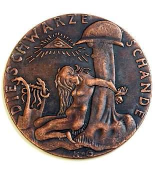 1920 German KARL GOETZ Black Shame Bronze Medallion