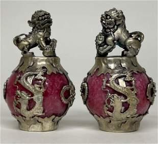 Old Handmade Chinese Folk Art Silver & Jade FOO DOGS