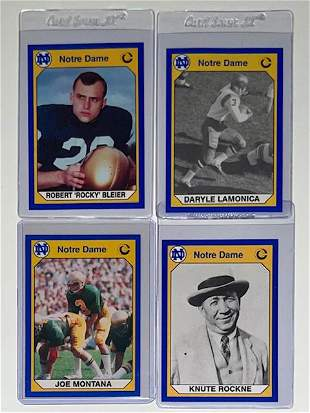 Rare Lot of 4 Notre Dame Legends Football Cards