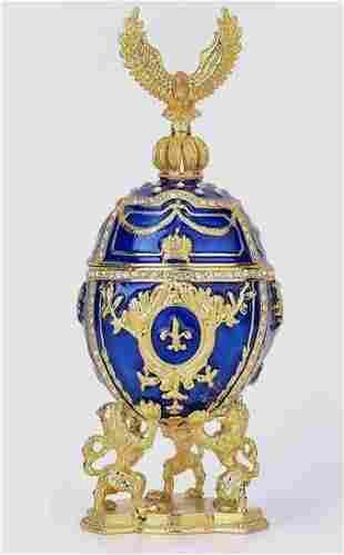 Awesome FABERGE Imperial Studded & Enameled Egg w/Eagle