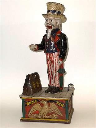 Vintage Cast Iron UNCLE SAM Mechanical Coin Bank