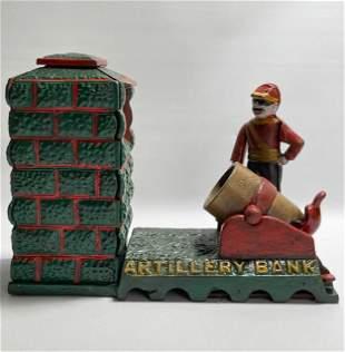 Vintage Artillery Cast Iron Mechanical Coin Bank