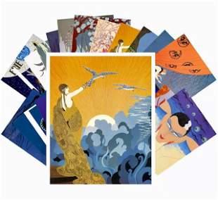 Lot of 24 - ERTE Art Deco Illustrations Postcards