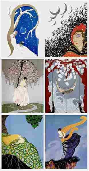 Lot of 6 ERTE Art Deco Art Print Lithographs 8 x 10 -1A