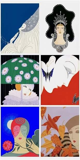 Lot of 6 ERTE Art Deco Art Print Lithographs 8 x 10 -3A