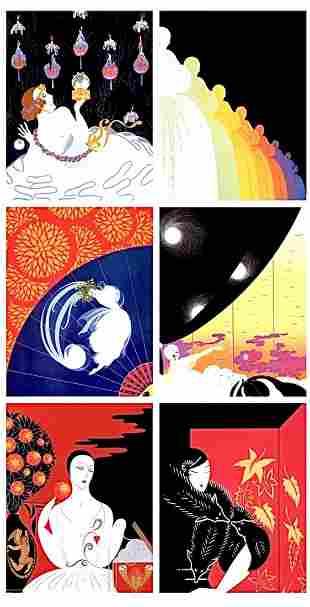 Lot of 6 ERTE Art Deco Art Print Lithographs 8 x 10 -4A