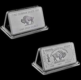 1oz Fine German Silver Buffalo Bullion Bar
