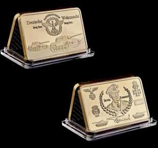 WW2 German General Erwin Rommel 1oz Gold Clad Bar