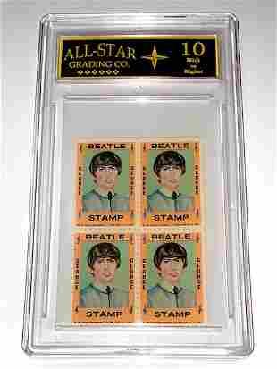 Rare 1964 The BEATLES Un-Cut Block Postage Stamps