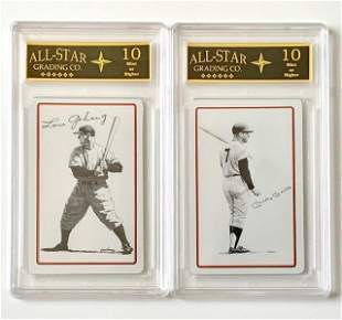 Rare Vintage Mickey Mantle & Lou Gehrig Signed Cards