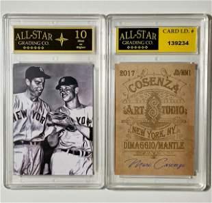 DiMaggio/Mantle Signed Studio Art Baseball Card