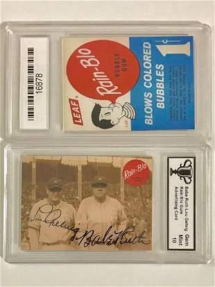 BABE RUTH & LOU GEHRIG Advertising Baseball Card