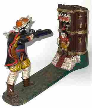 Vintage William Tell Cast Iron Mechanical Coin Bank