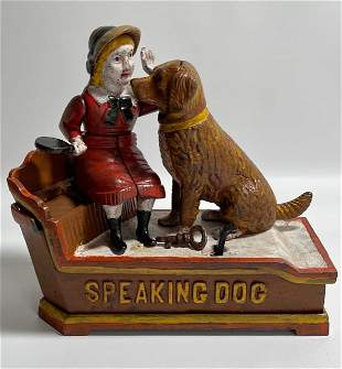 Vintage Speaking Dog Cast Iron Mechanical Coin Bank