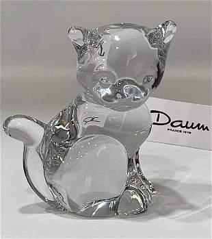 Vintage Signed DAUM France Crystal CAT Figure